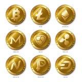 套现实3d金黄Bitcoin, Litecoin, Ethereum, 库存图片