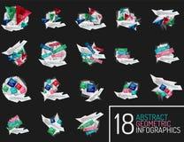 套现代多角形origami纸infographics 免版税库存照片