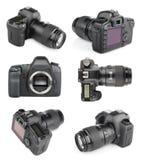 套现代数字式SLR照相机 免版税图库摄影
