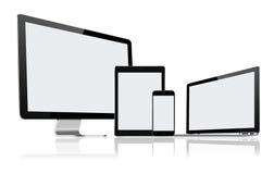 套现代计算机显示器、膝上型计算机、片剂个人计算机和手机 免版税图库摄影