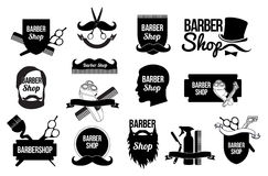 套理发店商标和设计 库存图片