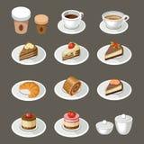 套甜点和咖啡 免版税库存图片