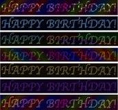 套生日快乐!签署氖激光五颜六色的充满活力的横幅 库存图片