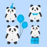 套生日贺卡设计的逗人喜爱的动画片熊猫 库存例证