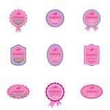 套生物化妆用品的标签 免版税库存照片