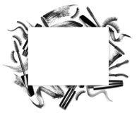 套用不同的冲程的染睫毛油刷子 库存照片