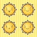 套用不同的表情的kawaii太阳 图库摄影