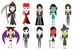 套由逗人喜爱的女孩的万圣夜cosplay党 免版税库存照片