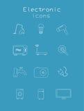 套电子和技术在蓝色颜色 免版税图库摄影