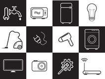 套电子和技术在黑白颜色 免版税图库摄影