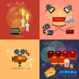 套电影设计元素戏院节日电影票 库存照片