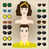 套男性和女性点不同的形状 图库摄影