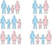 套男性和女性简单的标志家庭 免版税库存图片