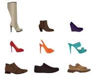 套男性和女性鞋子 免版税库存照片