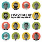 套男性角色面对具体化 被设置的平的样式人象 免版税库存照片