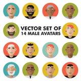 套男性角色面对具体化 被设置的平的样式传染媒介人象 免版税库存图片