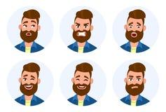 套男性面部情感 被设置的不同的男性情感 人用不同的表示的emoji字符 皇族释放例证