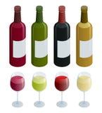 套白色、玫瑰和红葡萄酒瓶和玻璃 在白色背景隔绝的等量传染媒介例证 免版税图库摄影