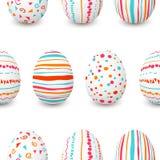 套白色复活节彩蛋无缝的样式 简单的桃红色,橙色,红色,蓝色条纹,样式指向,五彩纸屑,波浪 免版税图库摄影