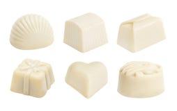 套白色巧克力candie 免版税库存照片
