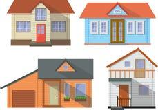 套白色背景的色的村庄家庭房子在平的样式 也corel凹道例证向量 图库摄影
