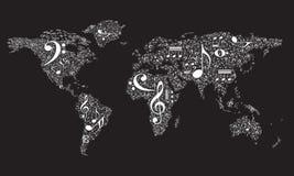 套白色音乐图,关于地球飞机的笔记 免版税库存图片