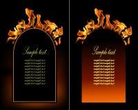 套的例证火火焰横幅。 免版税库存照片