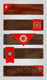 套皮革优质质量标签。 免版税库存图片