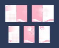 套看板卡丝带粉红色和白色 免版税图库摄影
