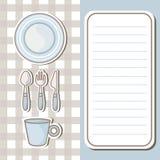 套碗筷有便条纸背景 库存照片