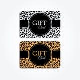 套礼物或vip卡片与时髦豹子样式, 免版税库存图片