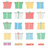 套礼物盒用不同的颜色和样式,不对称 库存图片