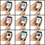 套社会网络在smartphone按 免版税库存图片