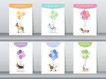 套祝贺卡片,海报,模板,贺卡,甜点,气球,动物,狗,传染媒介例证 免版税库存图片