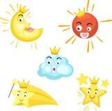 套神圣.sun,月亮,星形,云彩 免版税库存照片