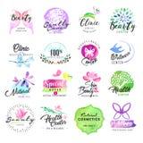 套秀丽和化妆用品的手拉的水彩标签 免版税库存照片