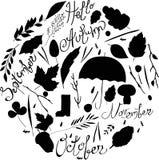 套秋天项目 黑白剪影 例证离开,分支,雨,字符 登记 免版税库存图片