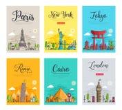 套稀薄的线旅行目的地的不同的城市 地标飞行物,杂志,海报,书横幅模板  向量例证