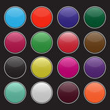 套空白的五颜六色的圈子按钮 皇族释放例证