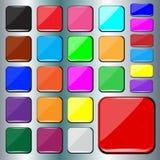 套空白的五颜六色的方形的按钮 库存图片