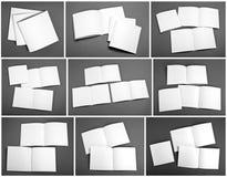 套空白的杂志,编目,小册子,杂志,书 免版税库存照片