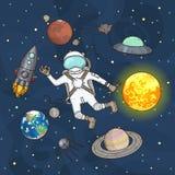 套空间元素 宇航员、地球、土星、月亮、飞碟、火箭、彗星、火星、太阳、斯布尼克和星 免版税库存图片