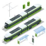 套等量乘客电车火车,在白色现代都市隔绝的路面电车城市电运输路面电车 皇族释放例证