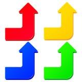 套简单的五颜六色的箭头 免版税库存照片