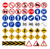 套简单的交通标志 库存照片