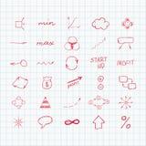 套简单的手拉的标志和标志 草图 免版税库存图片
