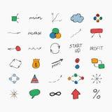 套简单的手拉的标志和标志 草图 图库摄影