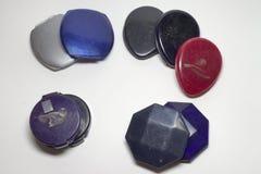 套粉末装入另外基本的形式和颜色 库存照片
