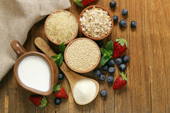 套粥的不同的谷物用牛奶 免版税库存图片