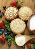 套粥的不同的谷物用牛奶 免版税图库摄影